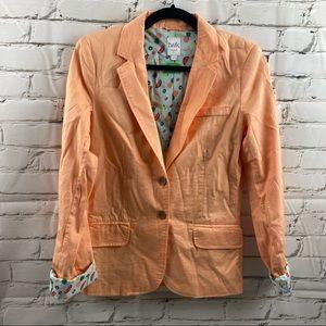 Twik peach coloured fruit fabric lined blazer